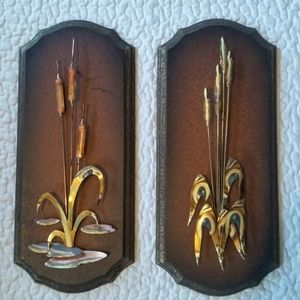 Vintage 1970s Wood Brass Cattail Plant Wall Art